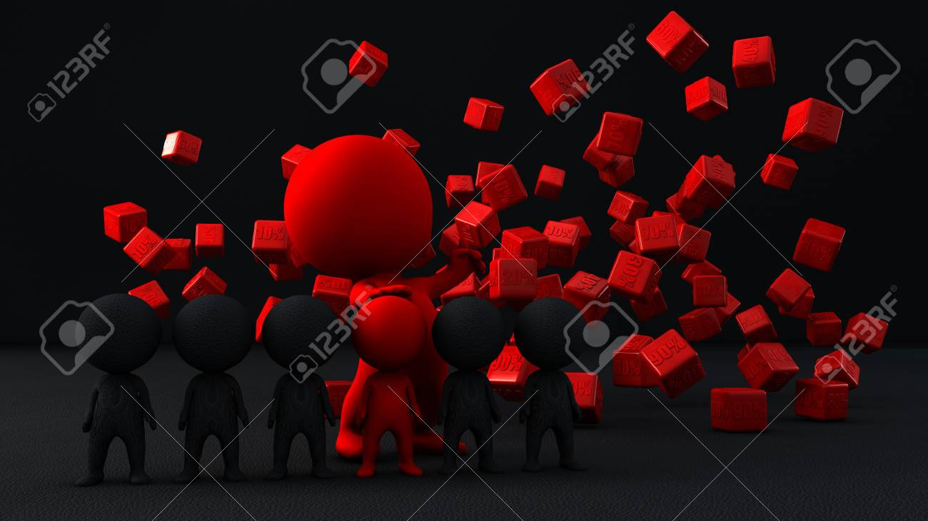 3d person with percents symbol Stock Photo - 15464480