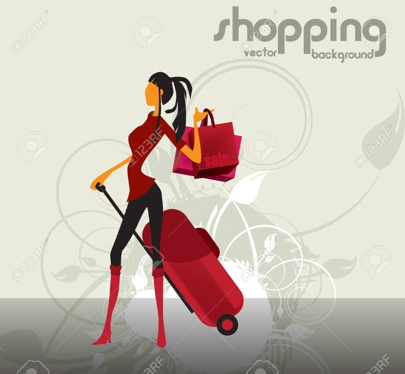 Fashion woman at the shopping Stock Vector - 15764269