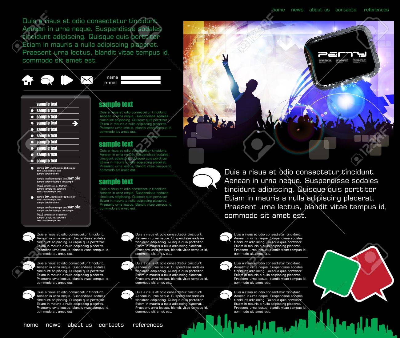 Website template with music event subject Stock Vector - 16737653
