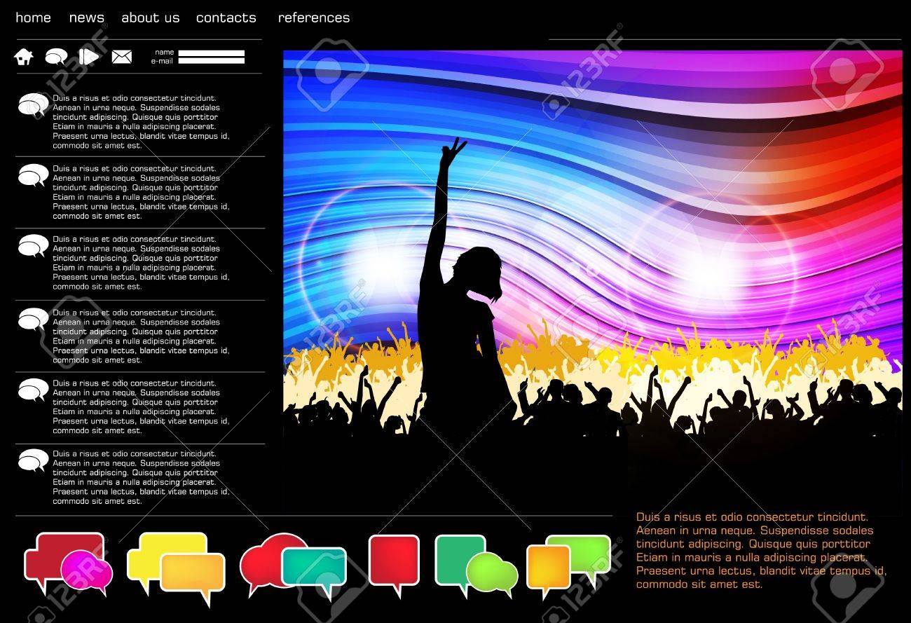 Website template with music event subject Stock Vector - 16737687