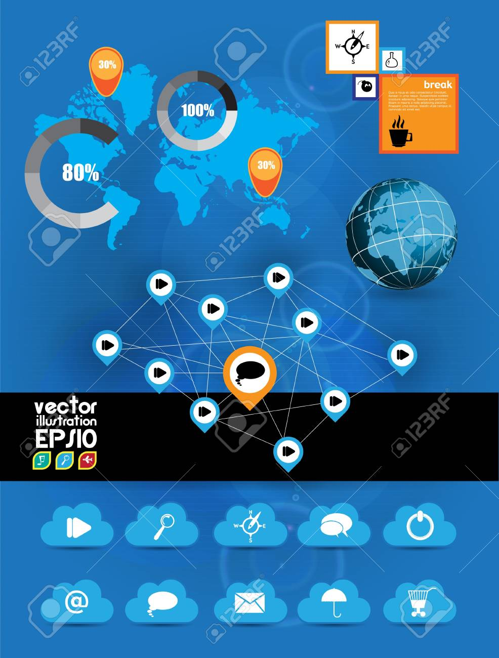 Cloud Computing concept background and world map Stock Vector - 16959152