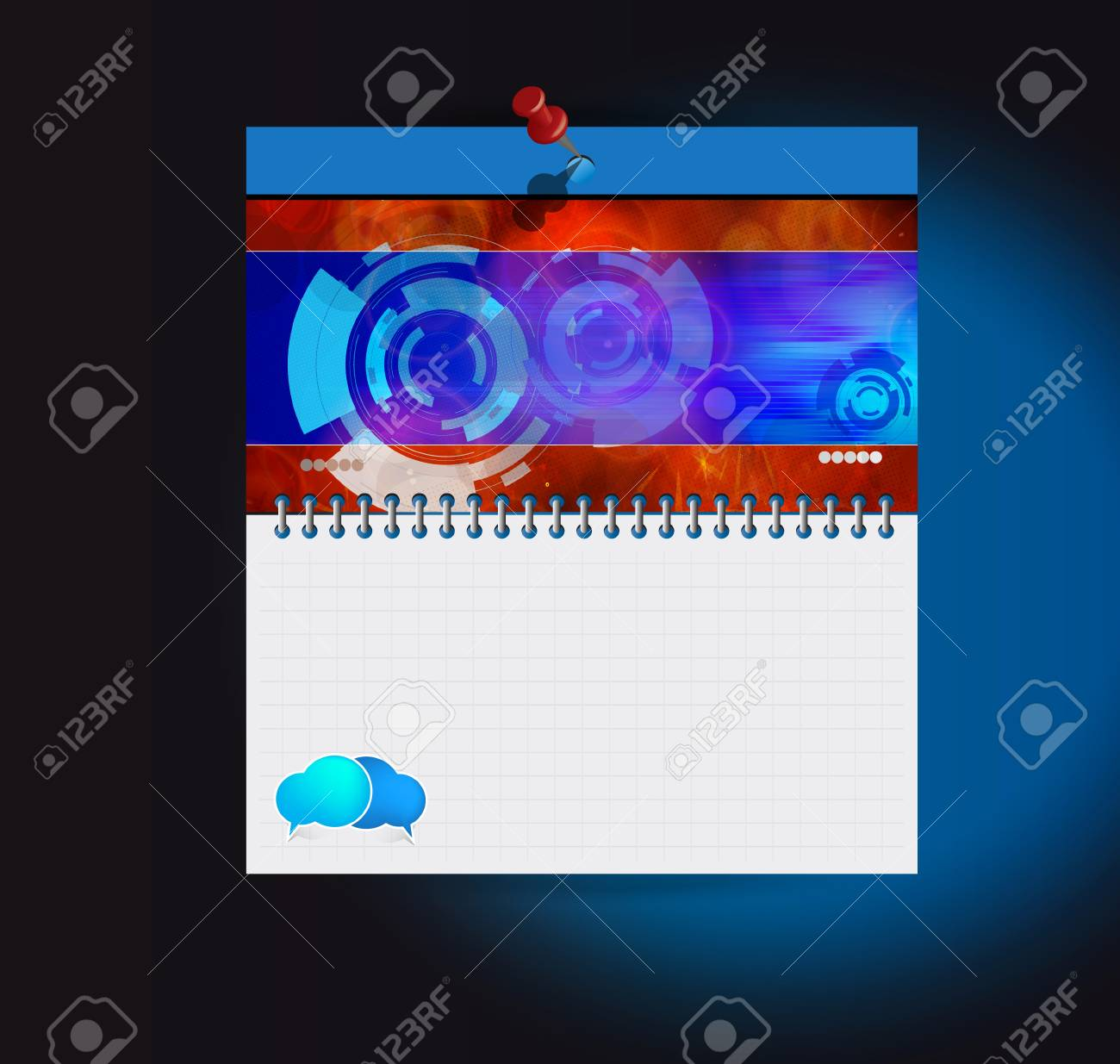 Organizer with technical background illustration Stock Vector - 16983078
