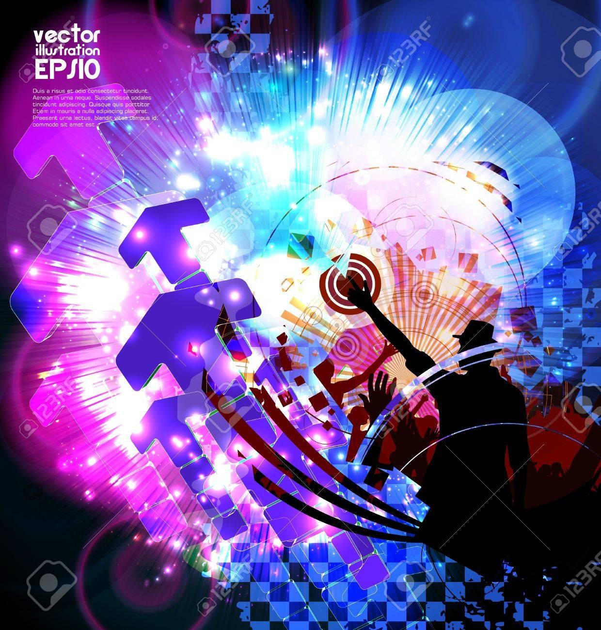 Dancing people. Music poster. Vector Stock Vector - 17046939