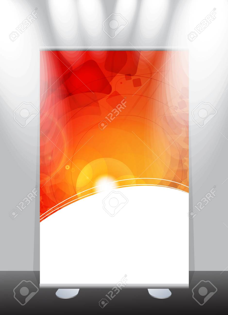 a roll-up display with stand banner template design, vector illustration. Stock Vector - 17284554