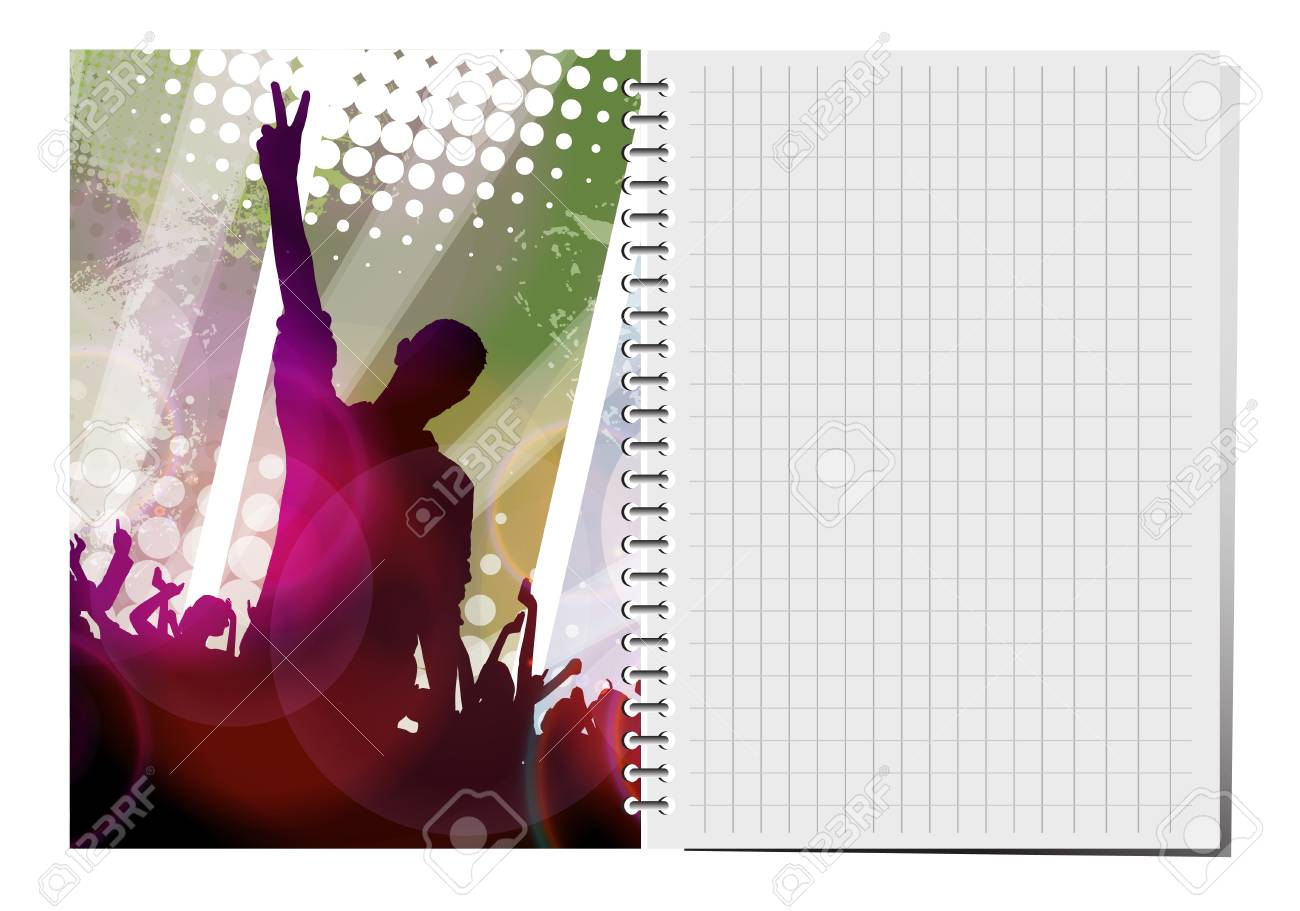 Notepad with dance party illustration. Stock Vector - 18622447