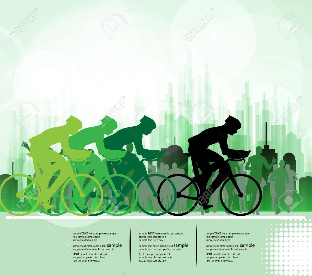 Sport road bike riders bicycle. Vector - 19050295