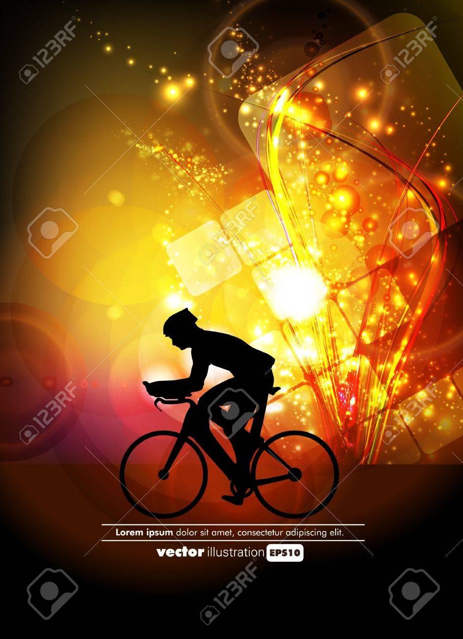 Sport road bike rider bicycle. Vector - 19050059