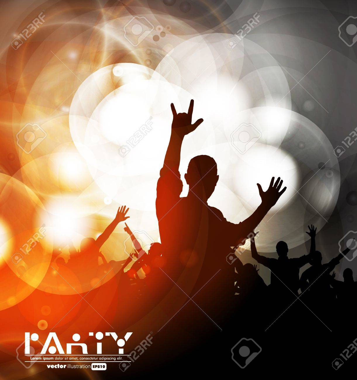 Colorful crowd of party people silhouettes background Stock Vector - 19354174