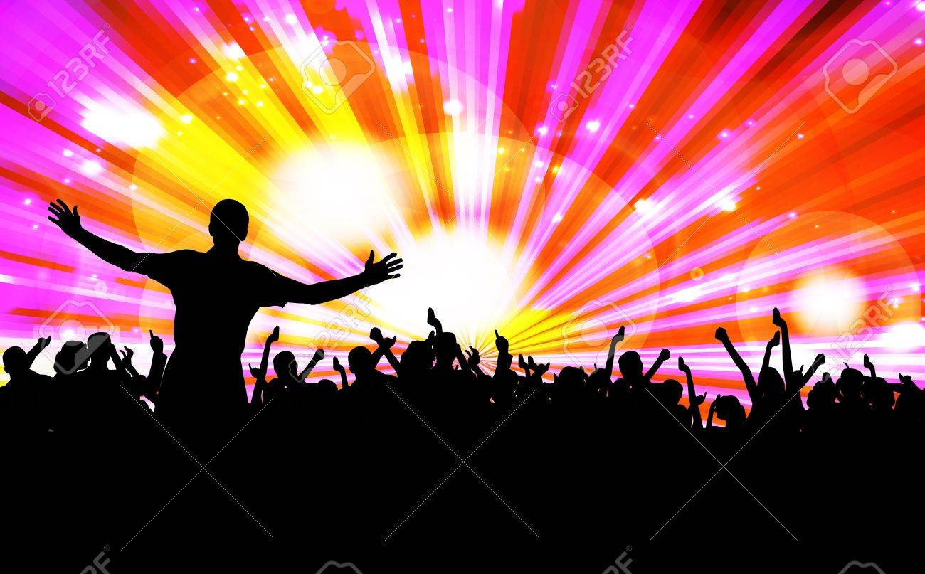Colorful crowd of party people silhouettes background Stock Vector - 19354249
