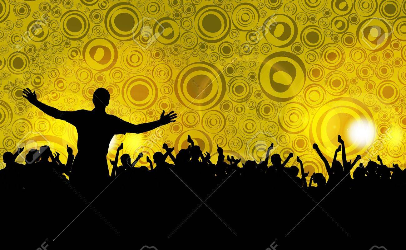 Colorful crowd of party people silhouettes background - 19354247