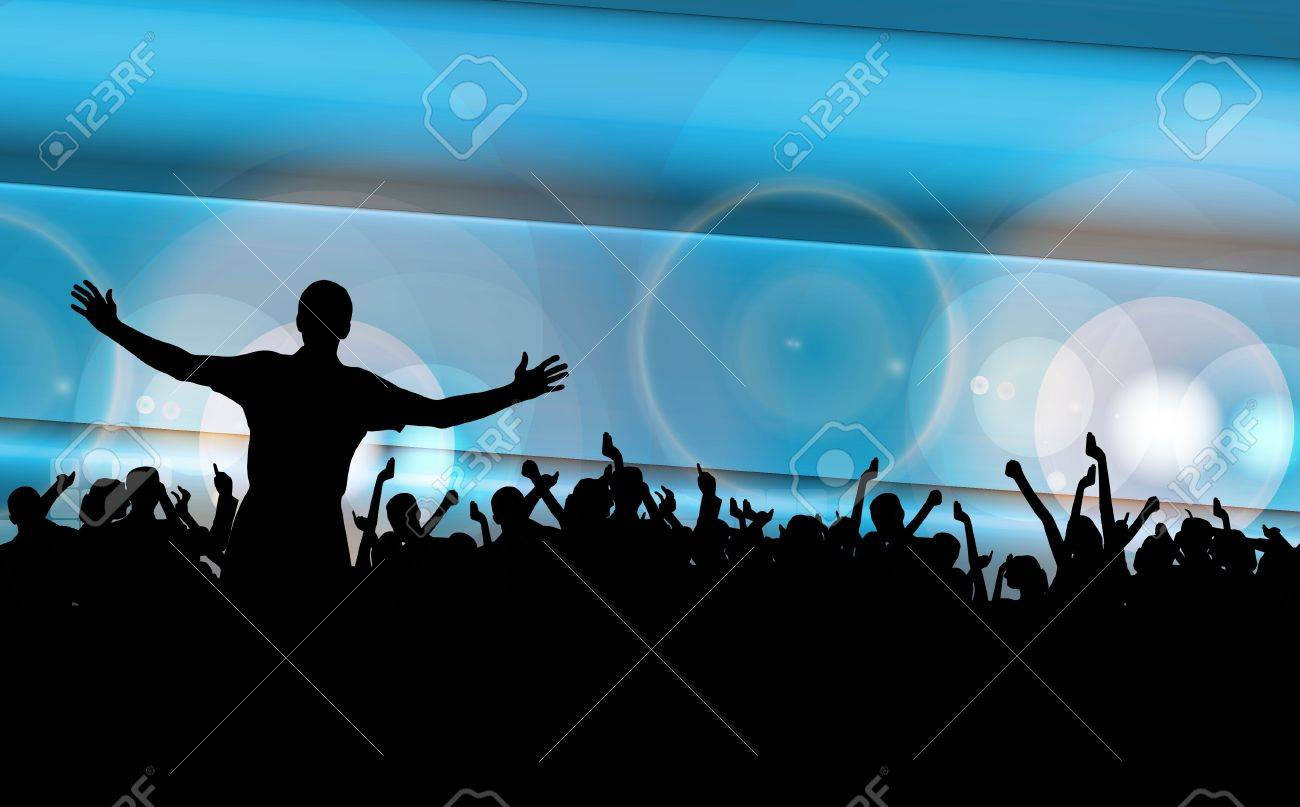 Vector colorful crowd of party people silhouettes background Stock Vector - 19354196