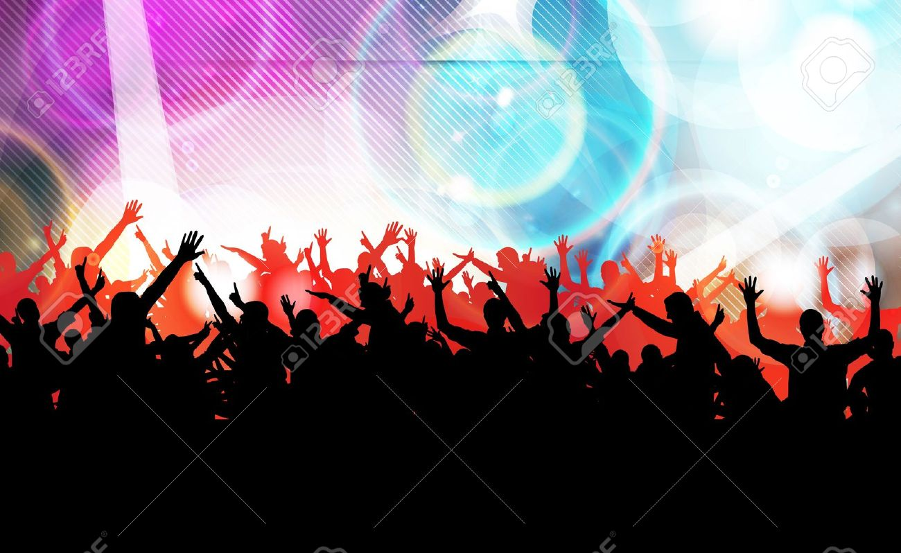 Vector colorful crowd of party people silhouettes background - 19354251
