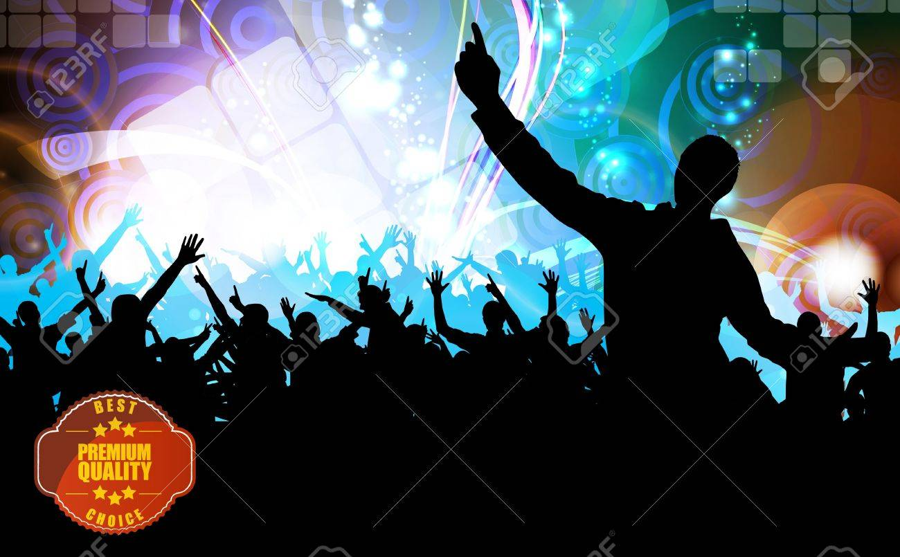 Concert crowd in front of stage. Vector illustration - 19716283