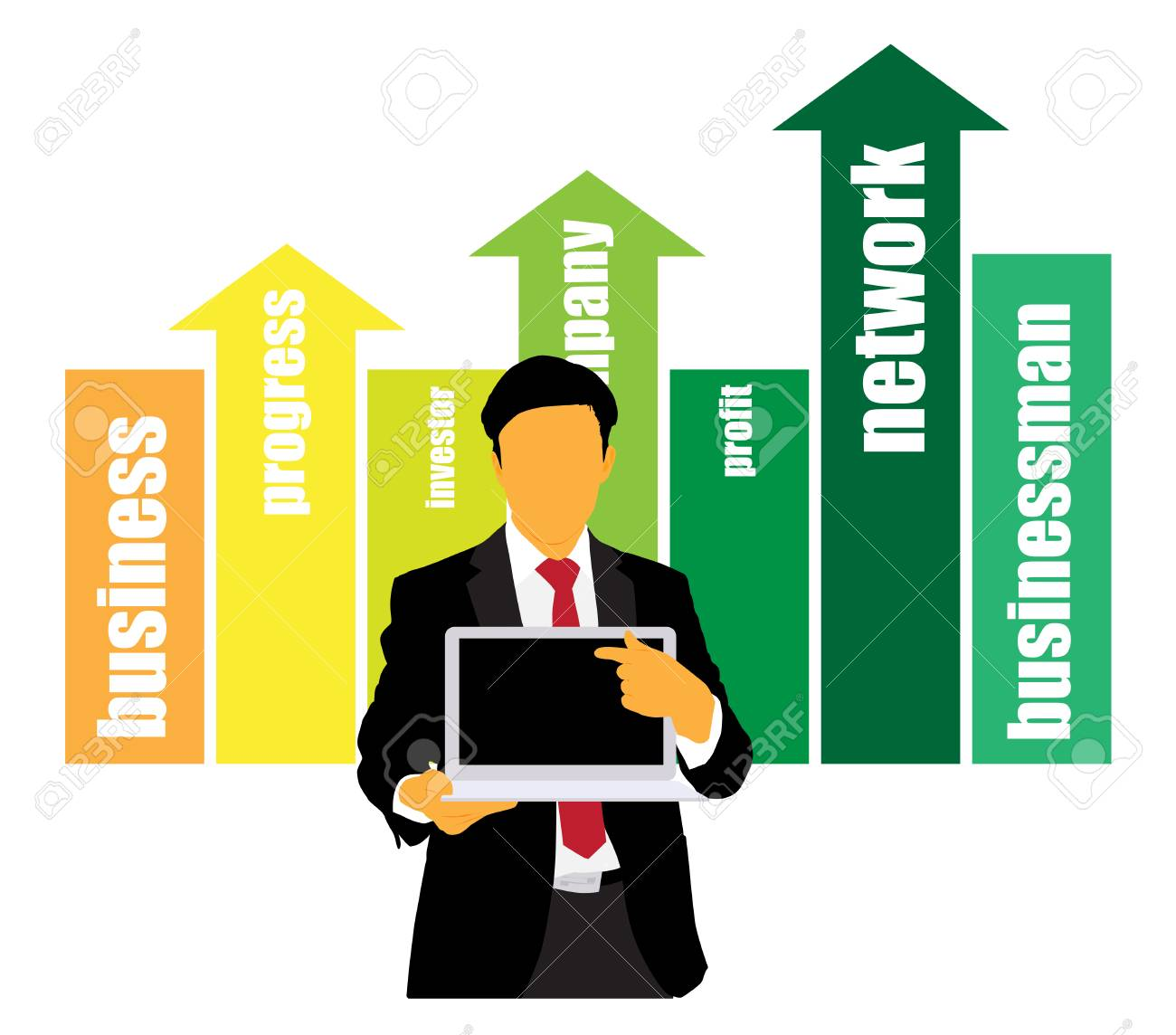 Businessman with computer  Vector Stock Vector - 22834419