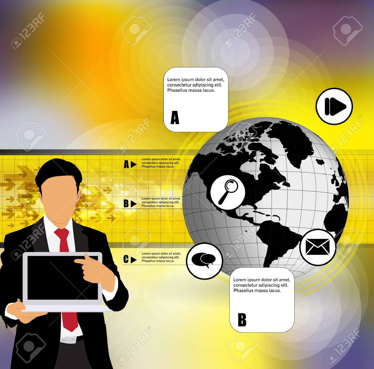 Businessman with computer  Vector Stock Vector - 22834647