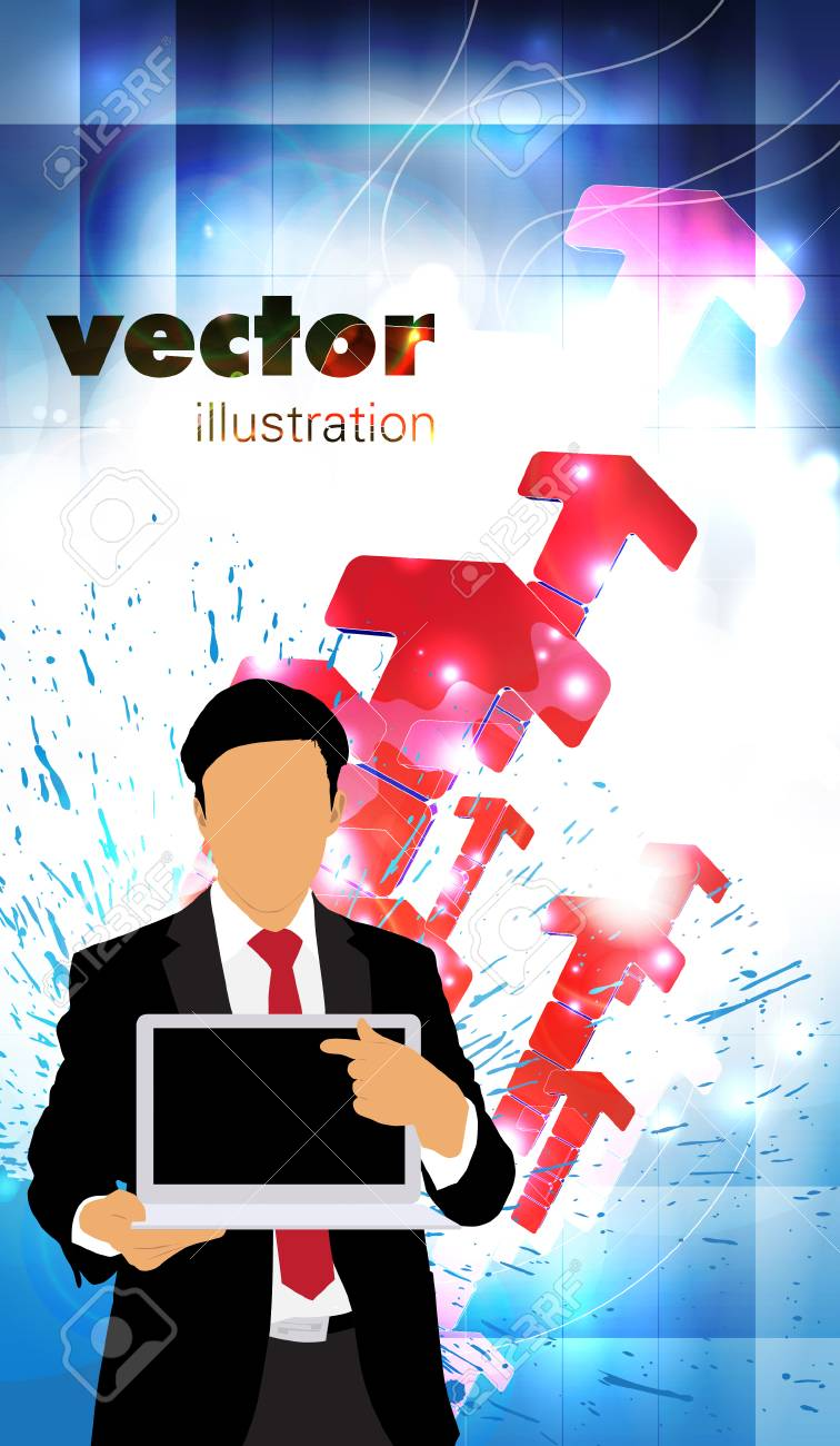 Businessman with laptop computer Stock Vector - 22834704