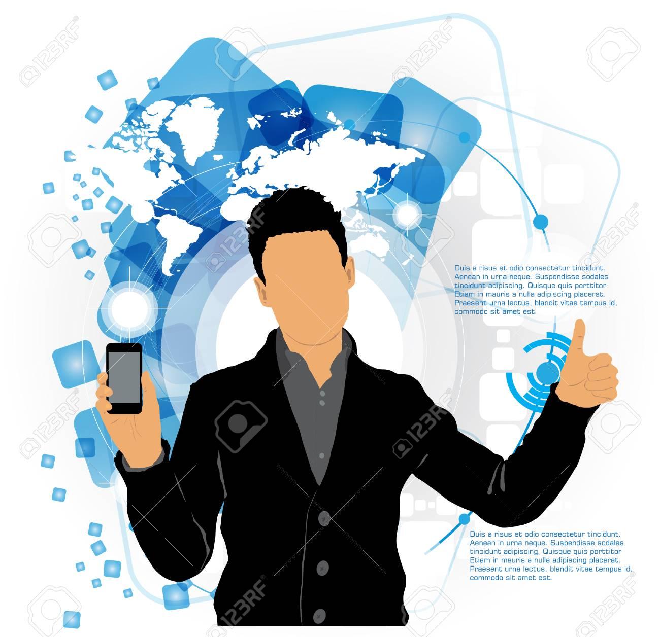 Man using smartphone  Vector Stock Vector - 22835365