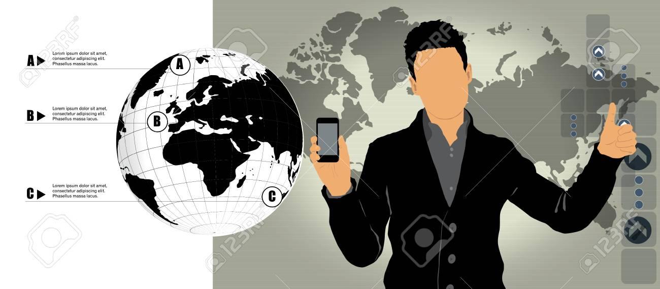Man using smartphone  Vector Stock Vector - 22835372