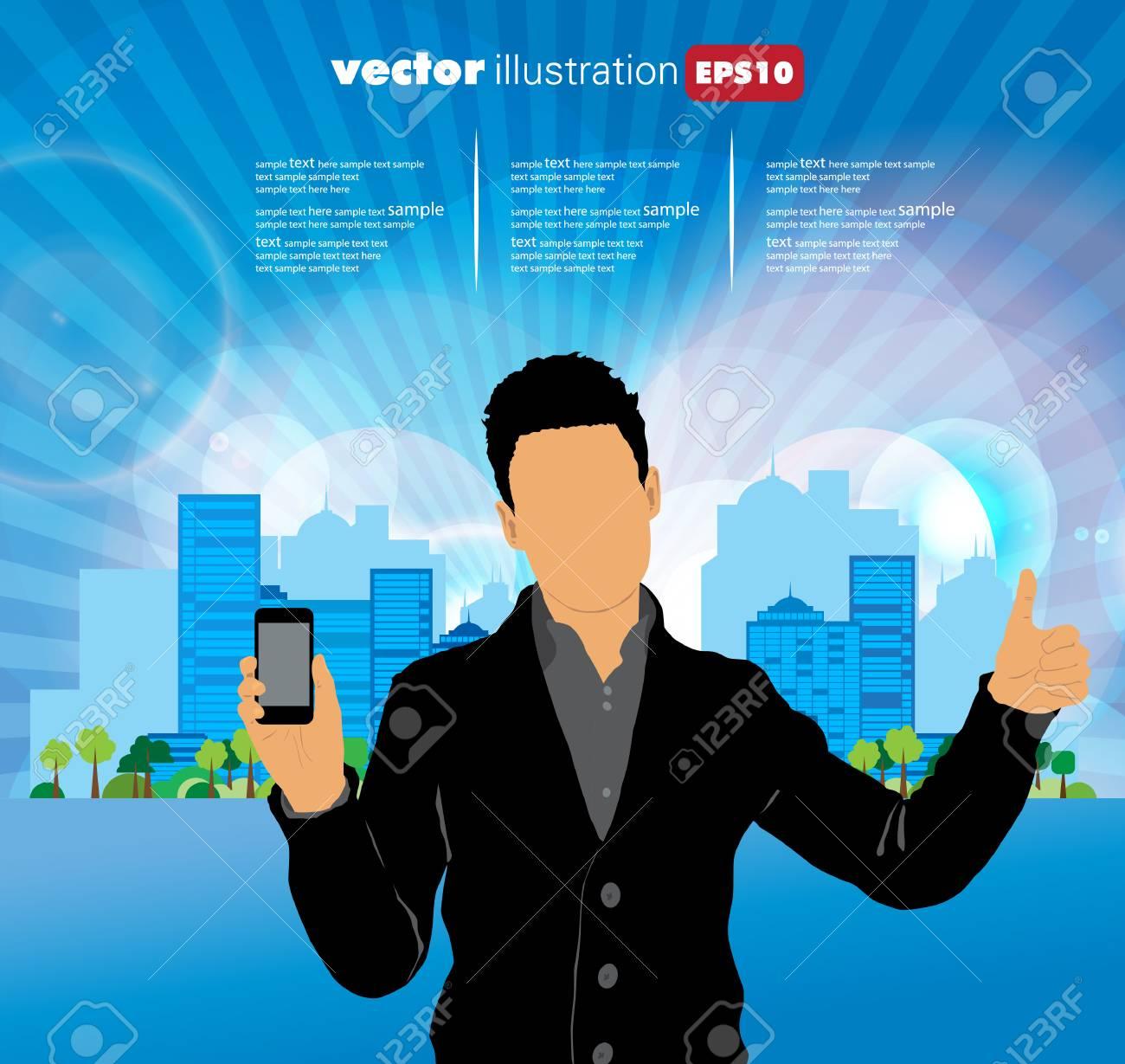 Man using smartphone  Vector Stock Vector - 23014724