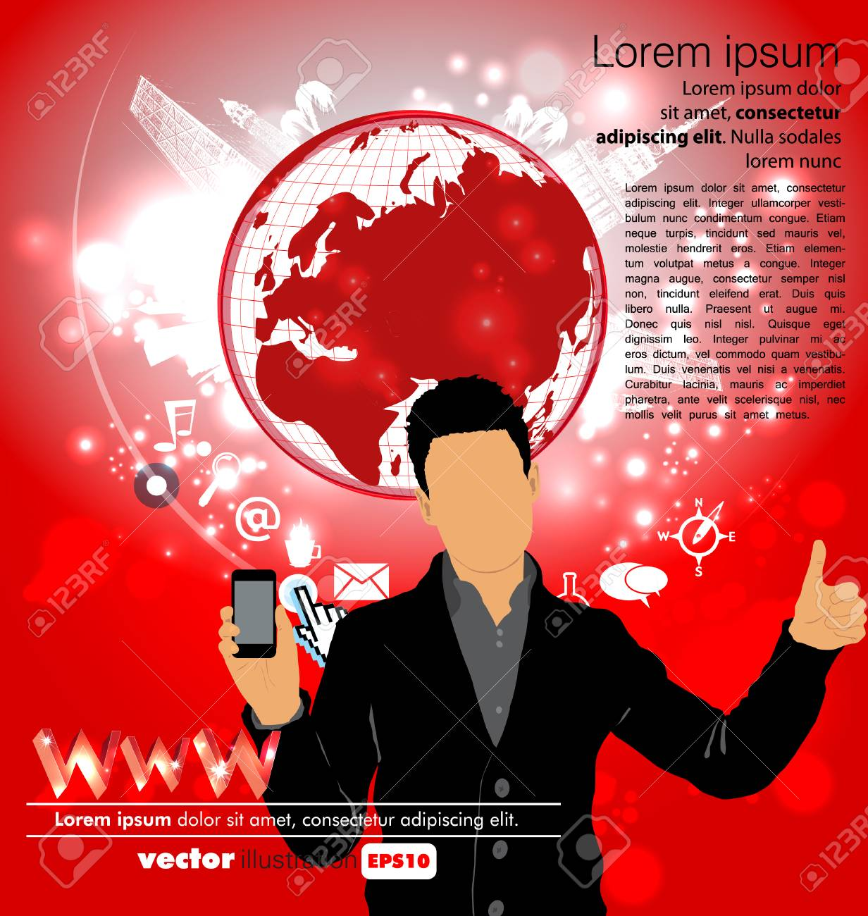 Man using smartphone  Vector Stock Vector - 23014761