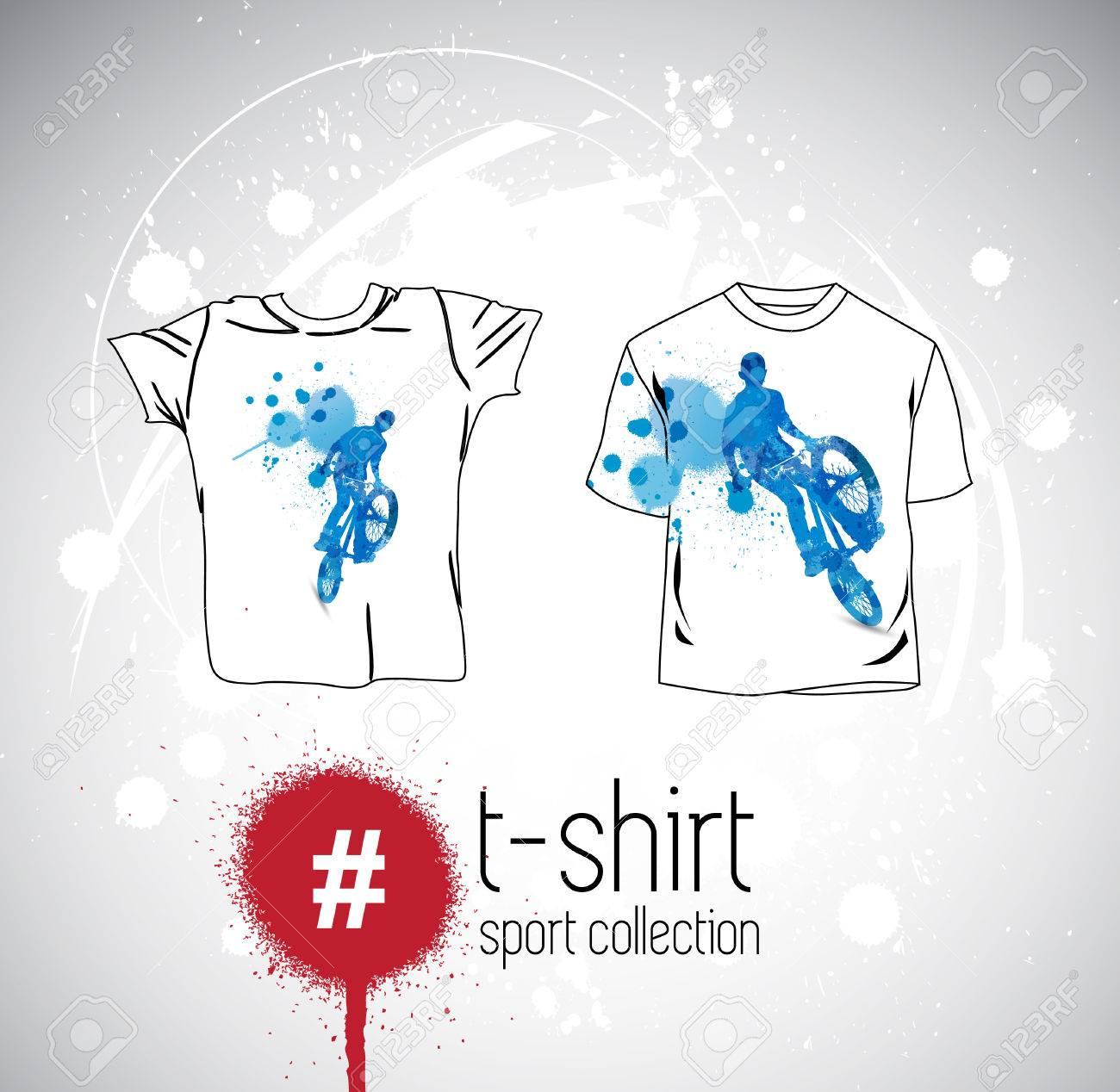 Vector. Diseño De La Camiseta Del Hombre Con Elementos Deportivos ... 0c04341e4fd23