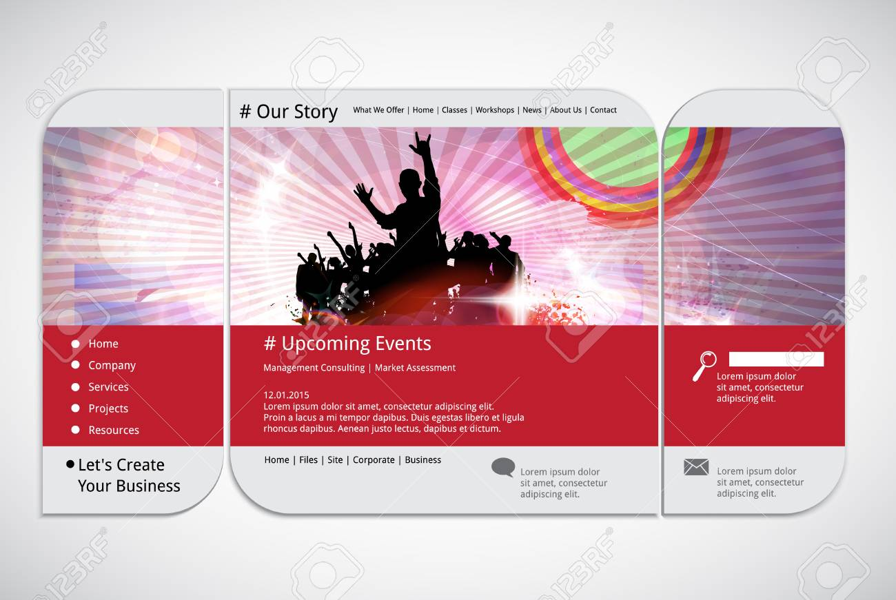 Website Template With Music Event Banner Royalty Free Cliparts