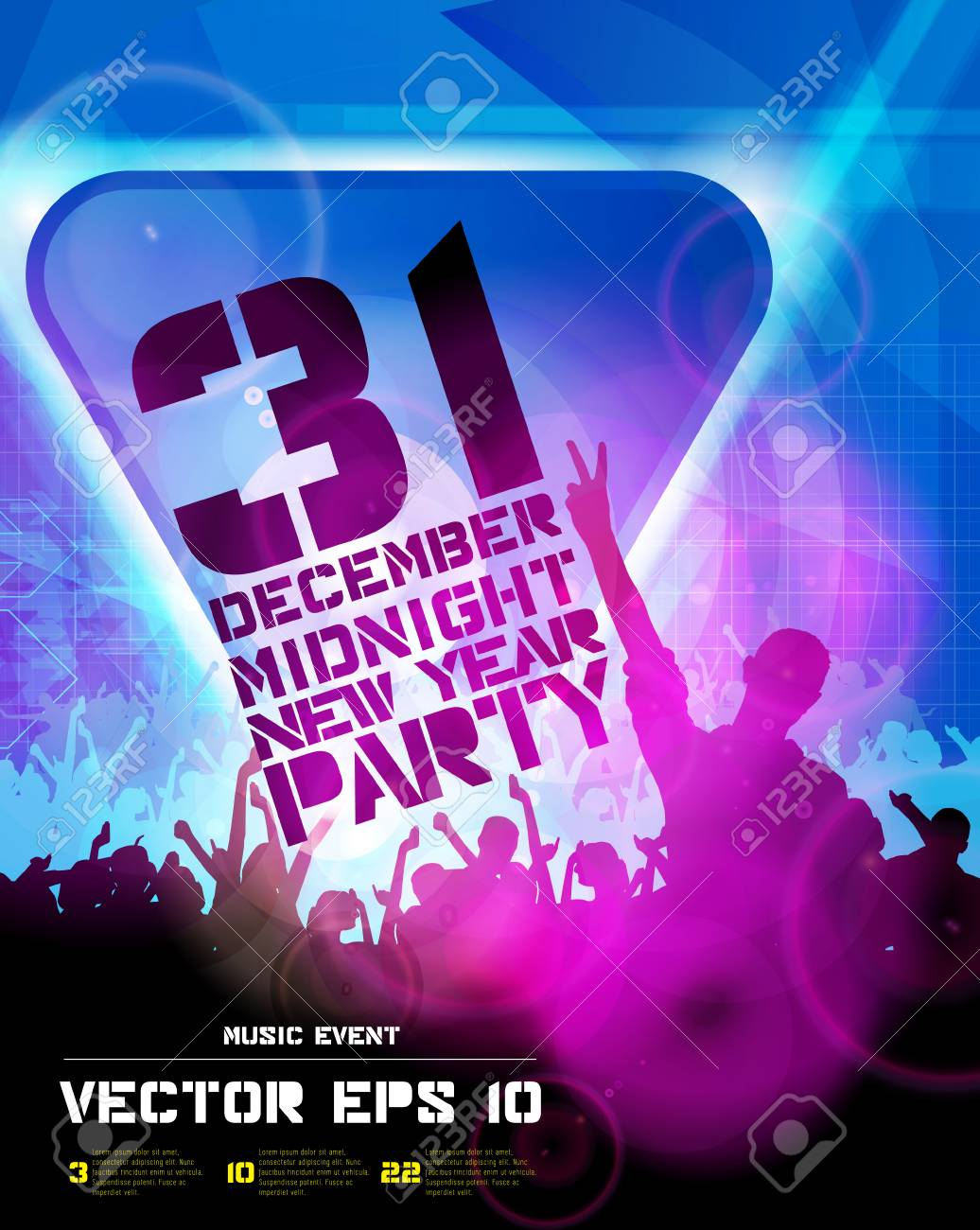 Music Event Illustration Background For New Year Party Poster