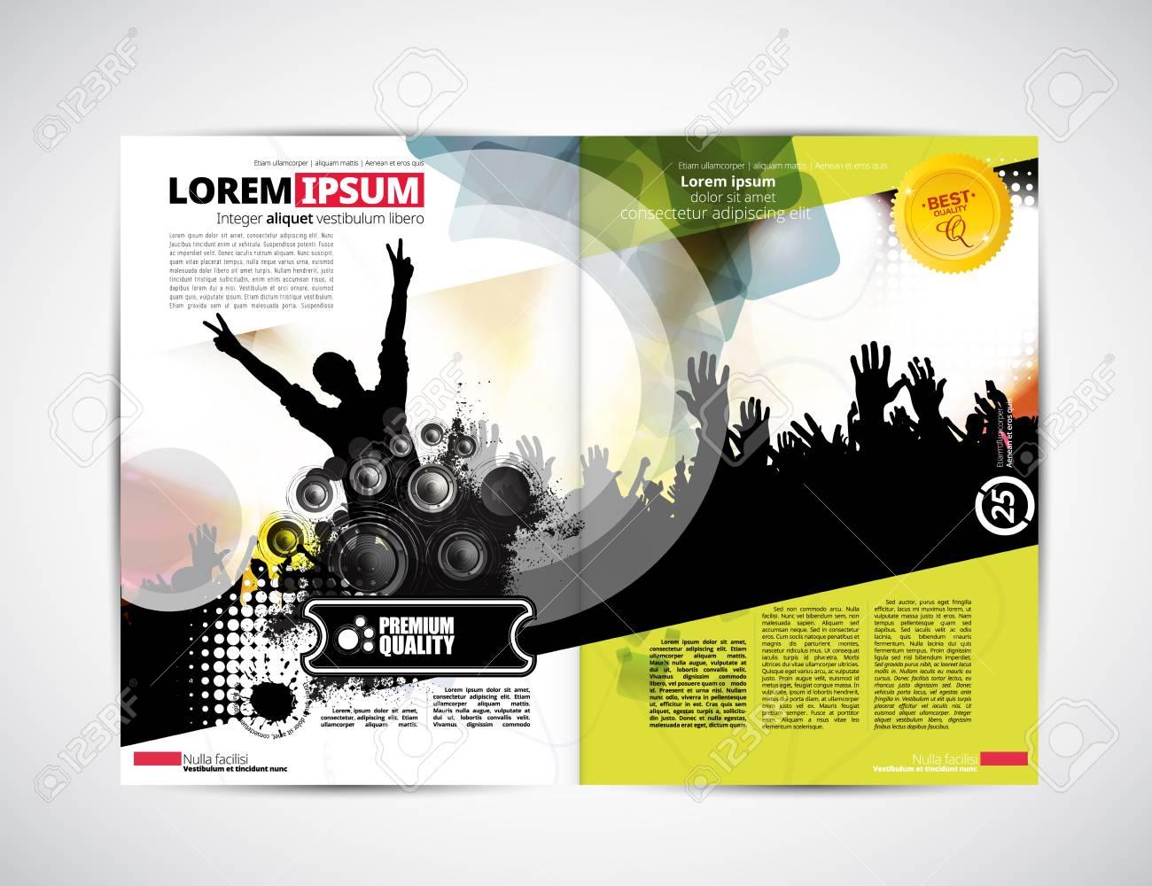 Music magazine layout, vector