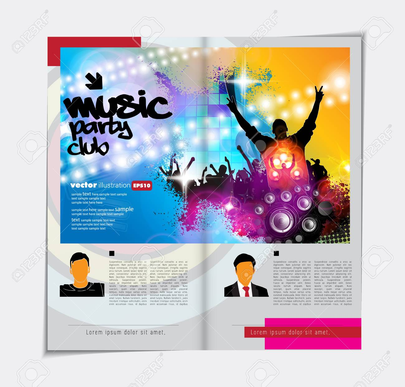 colorful music magazine brochure layout royalty free cliparts