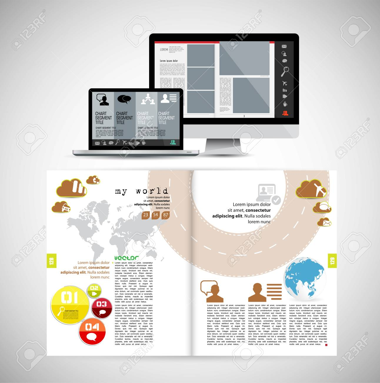 Template vector design. Ready for use for brochure, annual report or magazine - 109468767
