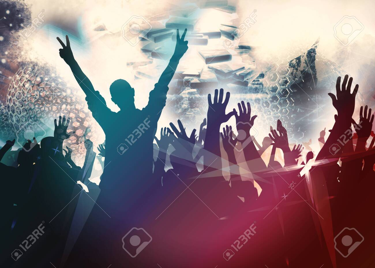 Party background with dancing people - 128584134