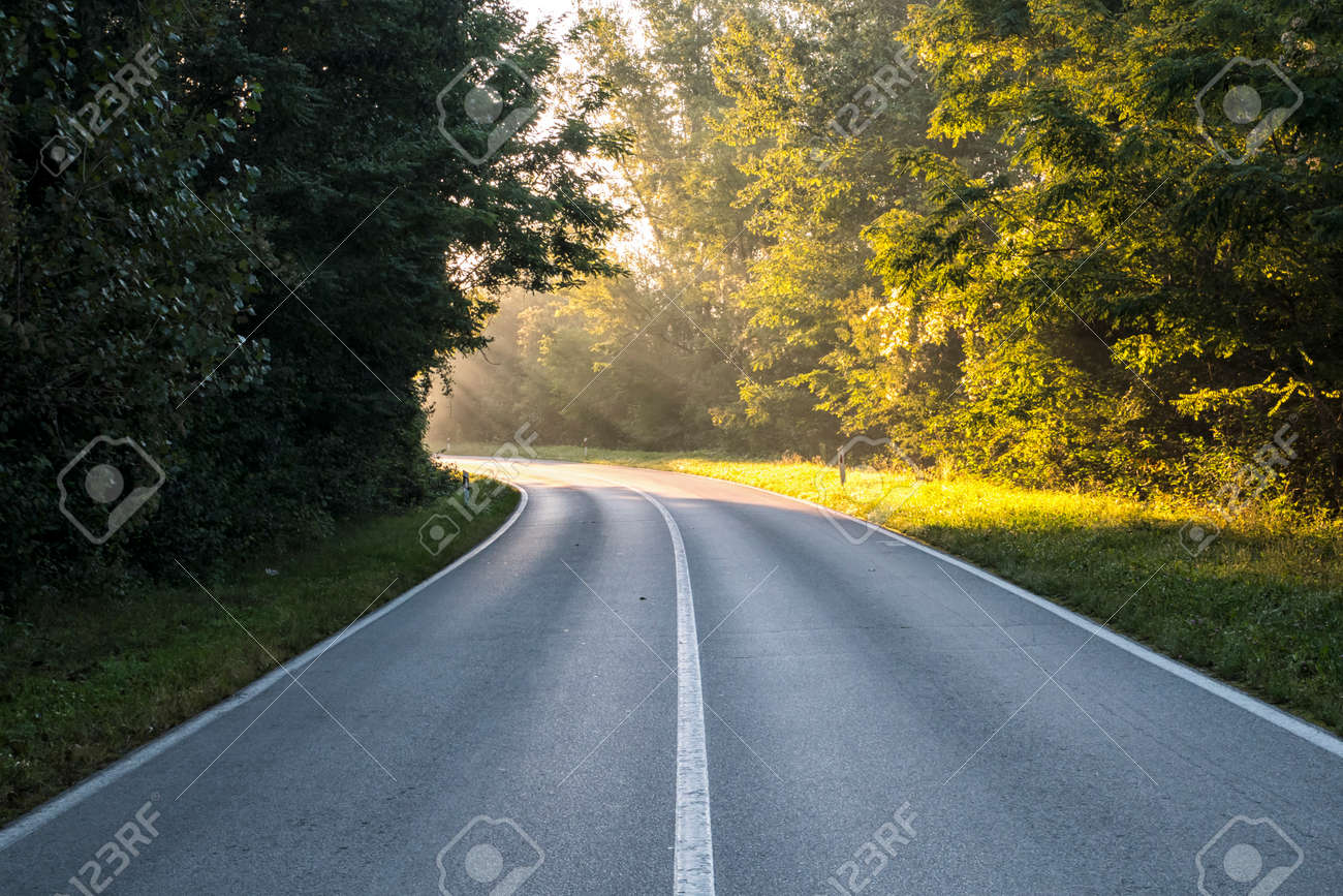 The road, which at the bend is illuminated by sunlight. It represented inspiration, God's apparitions, enlightenment - 143235021