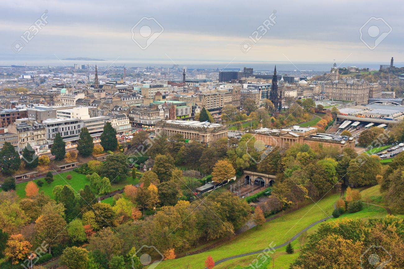 Edinburgh, View on city over Princes Street Gardens, Scotland Stock Photo - 12061999