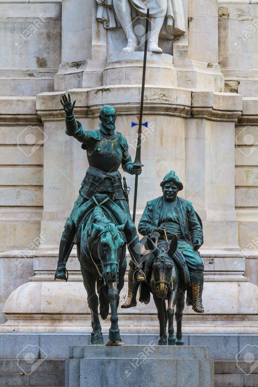 Madrid, Don Quijote And Sancho Panza Statue, Spain Stock Photo ...