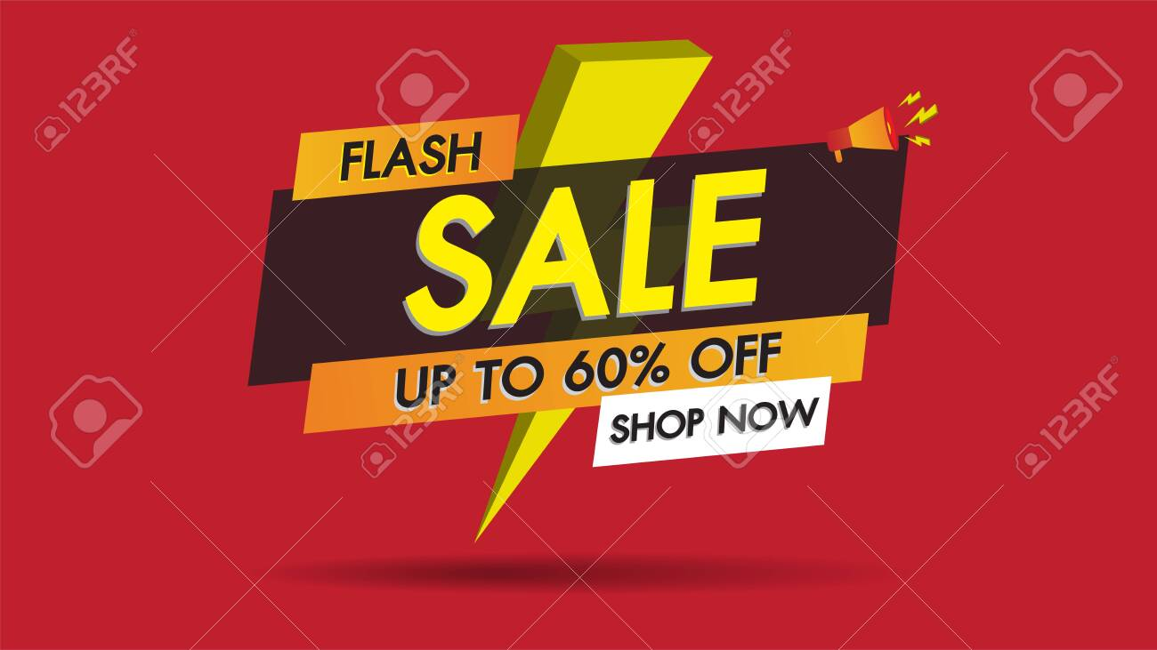 Flash sale banner promotion template design on red background with golden thunder.Big sale special 60% offer labels.End of season special offer banner shop now. - 126266711