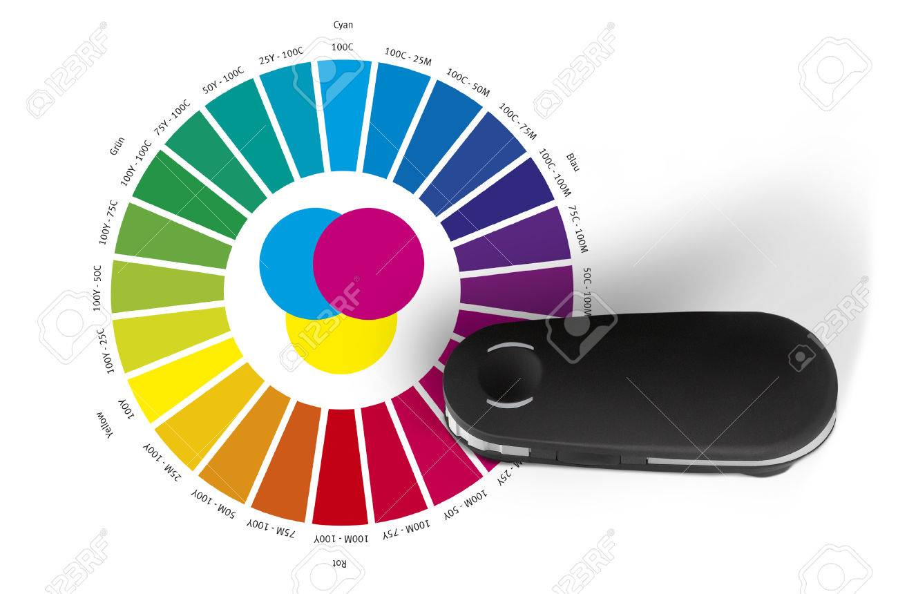 Print Color Wheel And Spectrometer Controll Instrument Reading RGB CMYK LAB Values Stock Photo