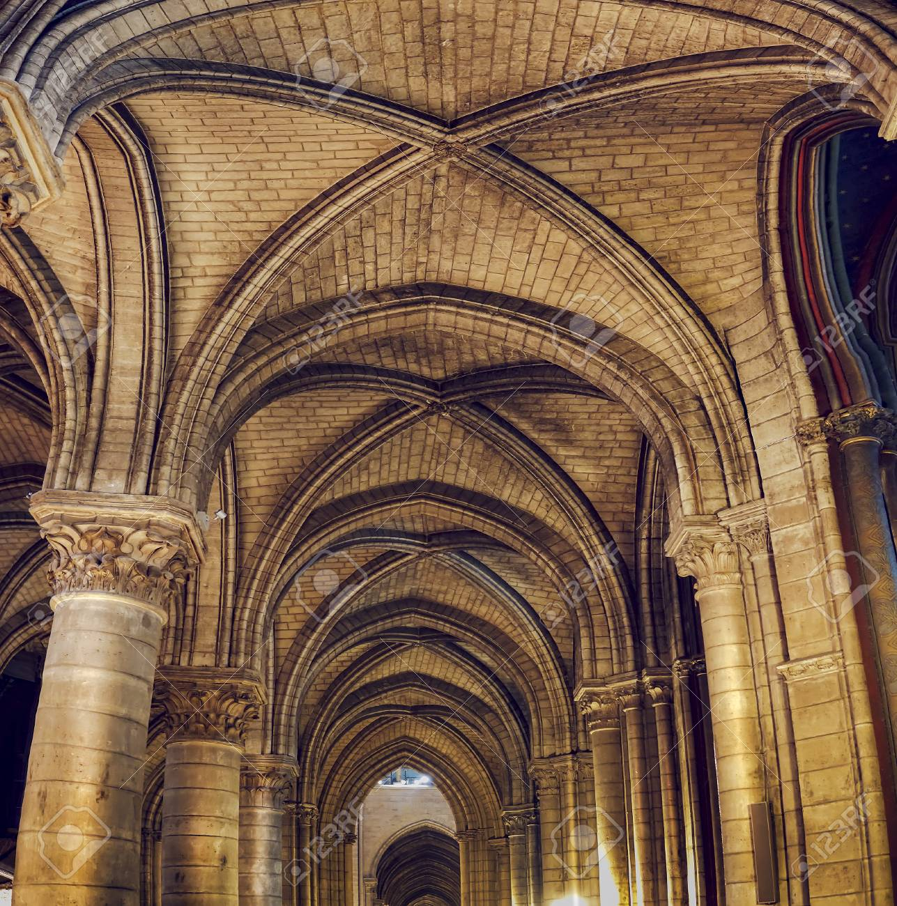 Wide Shot Of Notre Dame Cathedral Interior Arches And Ceiling Stock Photo Picture And Royalty Free Image Image 111315836