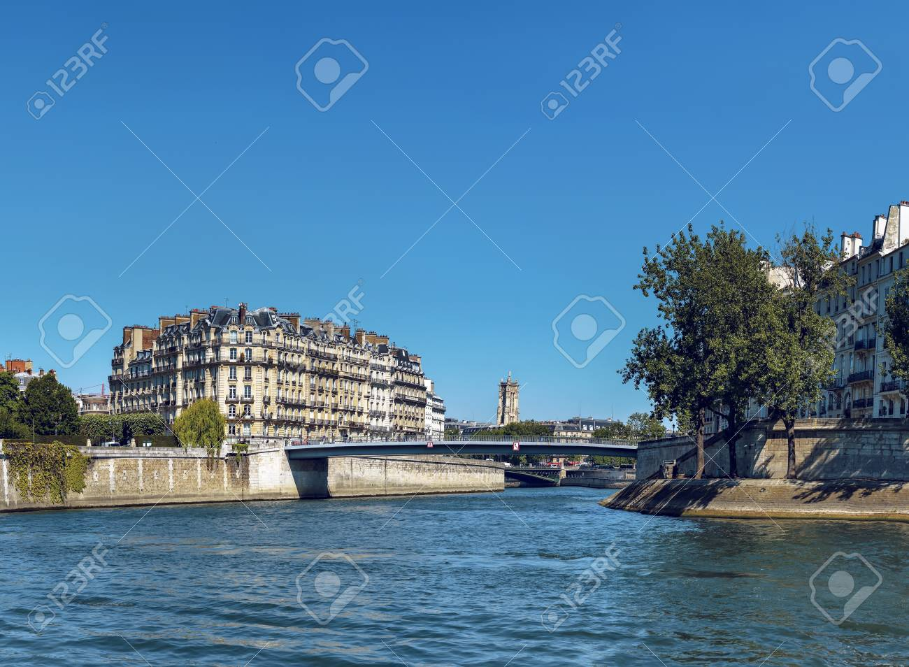 Pont Saint Louis On Seine River Near Notre Dame Cathedral In