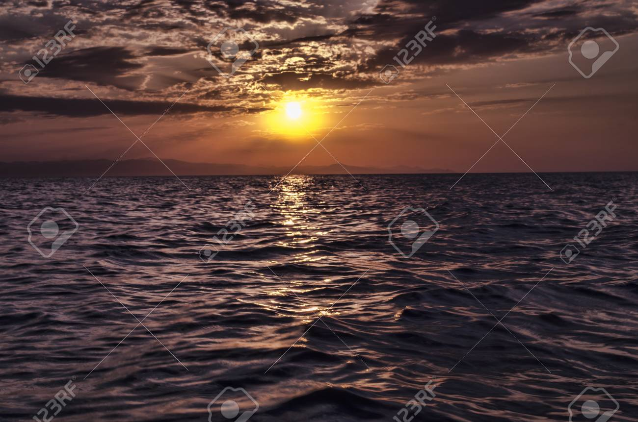 Beautiful Blazing Sunset Landscape At Caspian Sea And Orange Sky Above It With Awesome Sun Golden