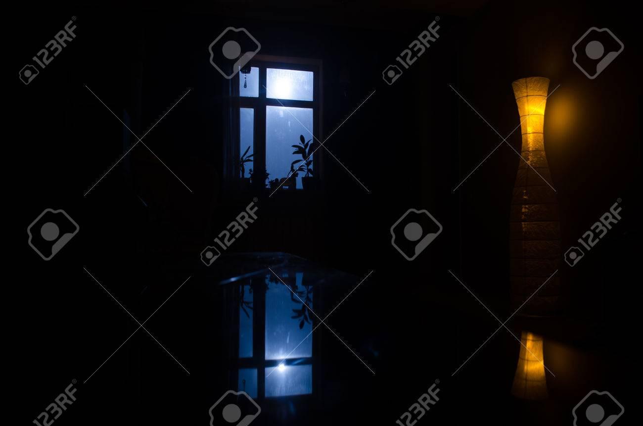 Dark room with light through window - Night Scene Of Moon Seen Through The Window From Dark Room Moonlight Inside Dark Room