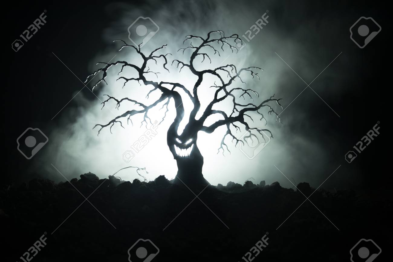silhouette of scary halloween tree with horror face on dark foggy