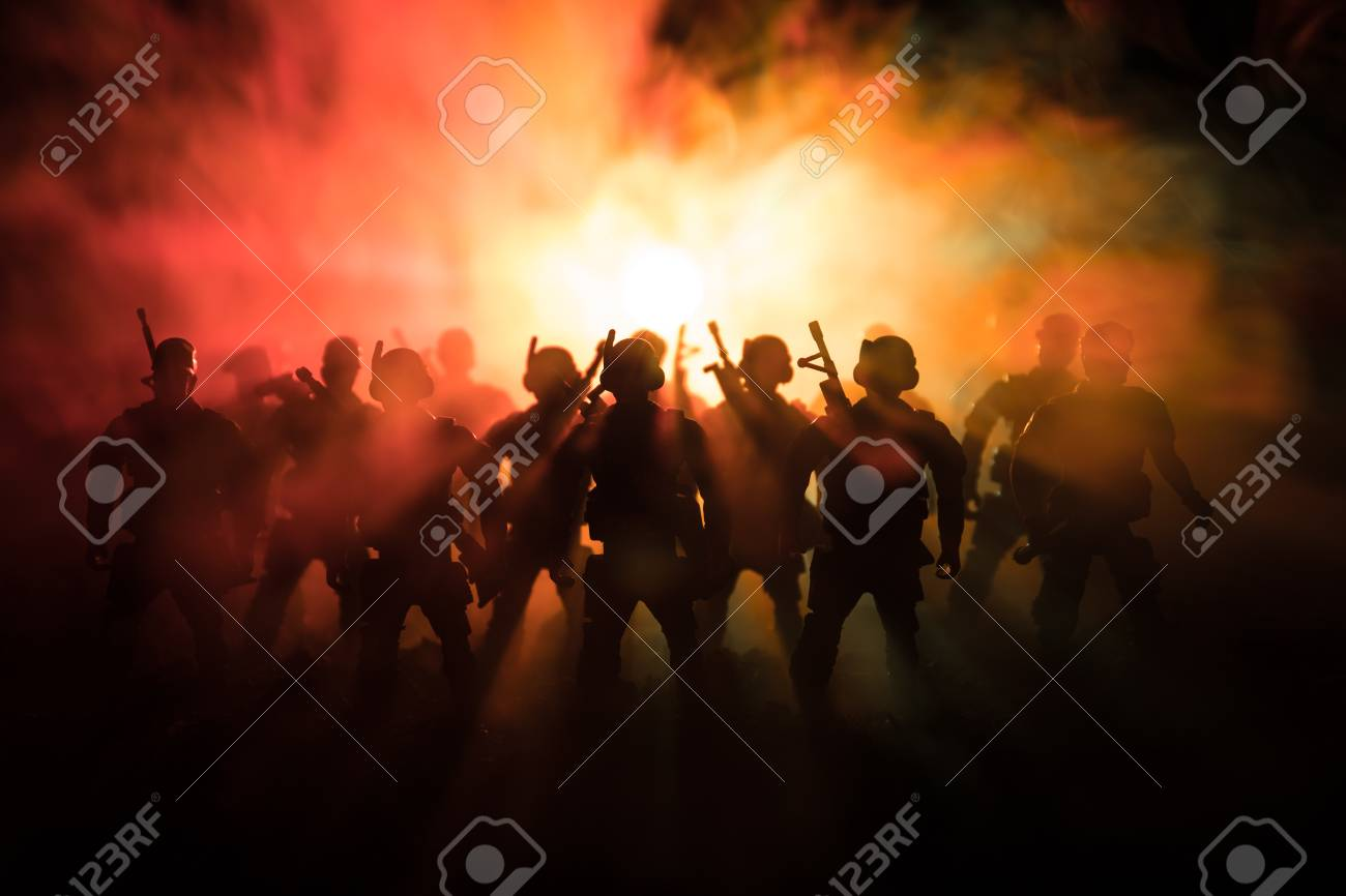 War Concept. Military silhouettes fighting scene on war fog sky background - 95743806