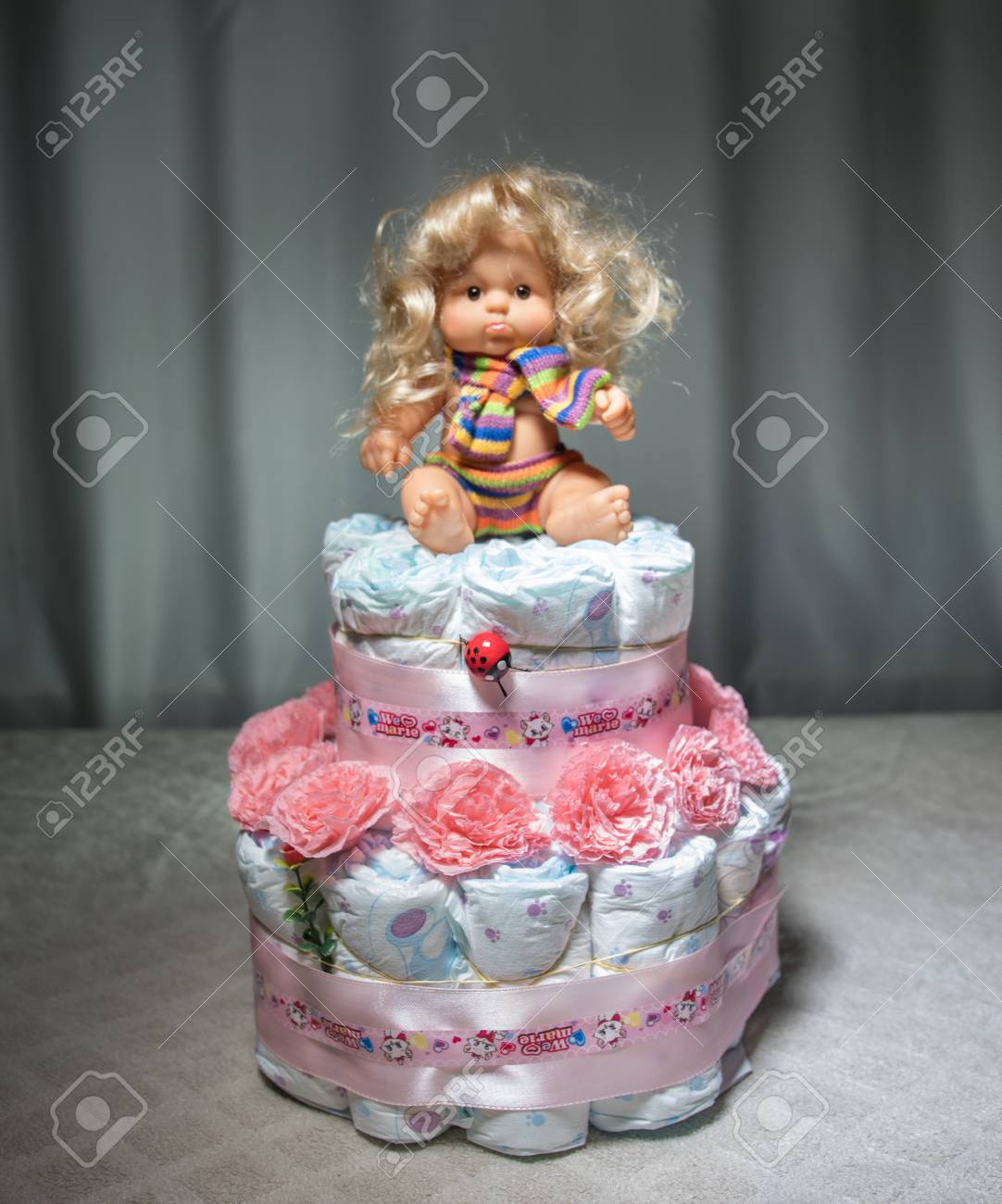 Cake Of Diapers Baby Shower Gift Diaper Wrapped Diapers A