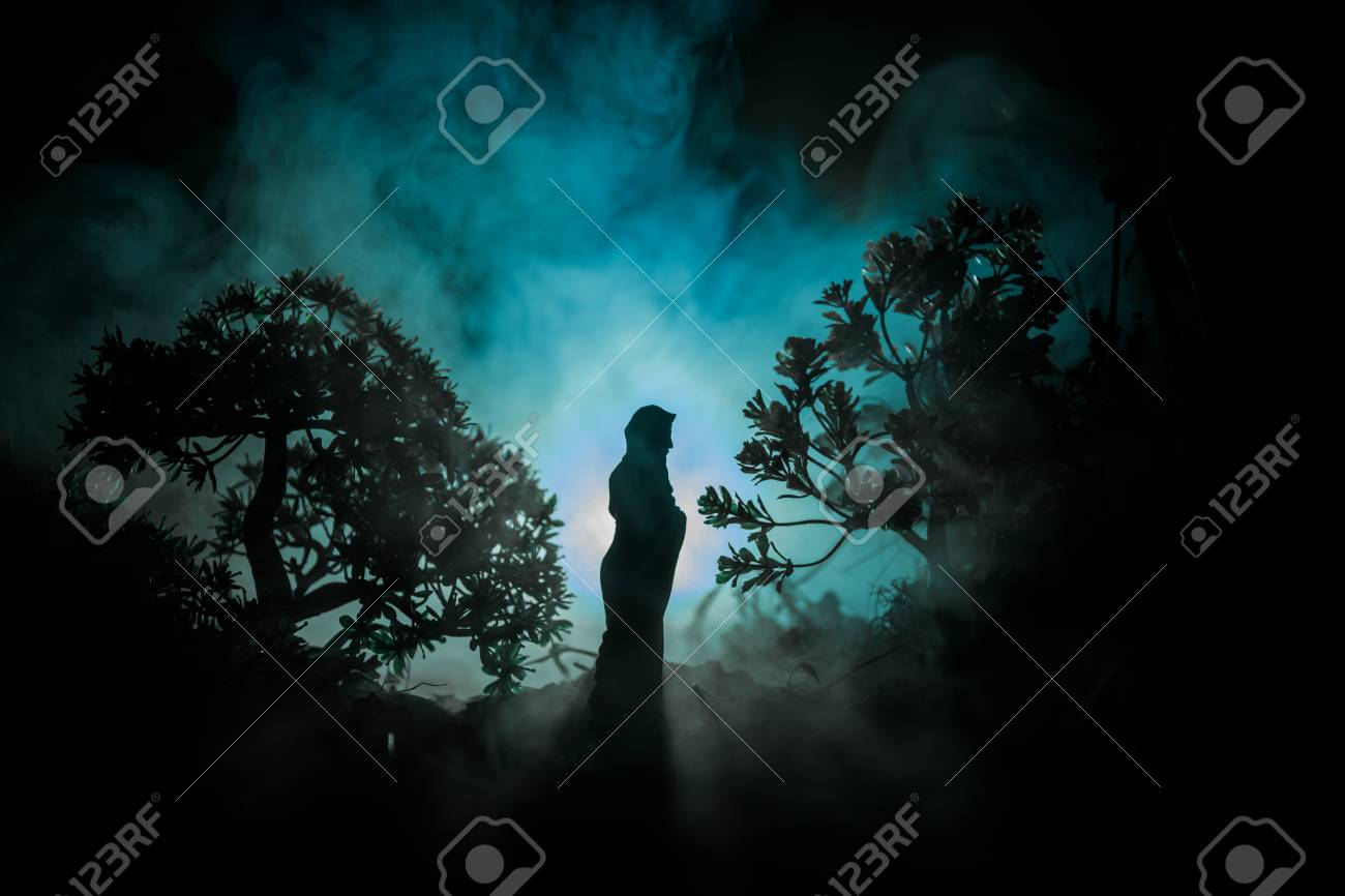 Horror Halloween decorated conceptual image  Alone girl with
