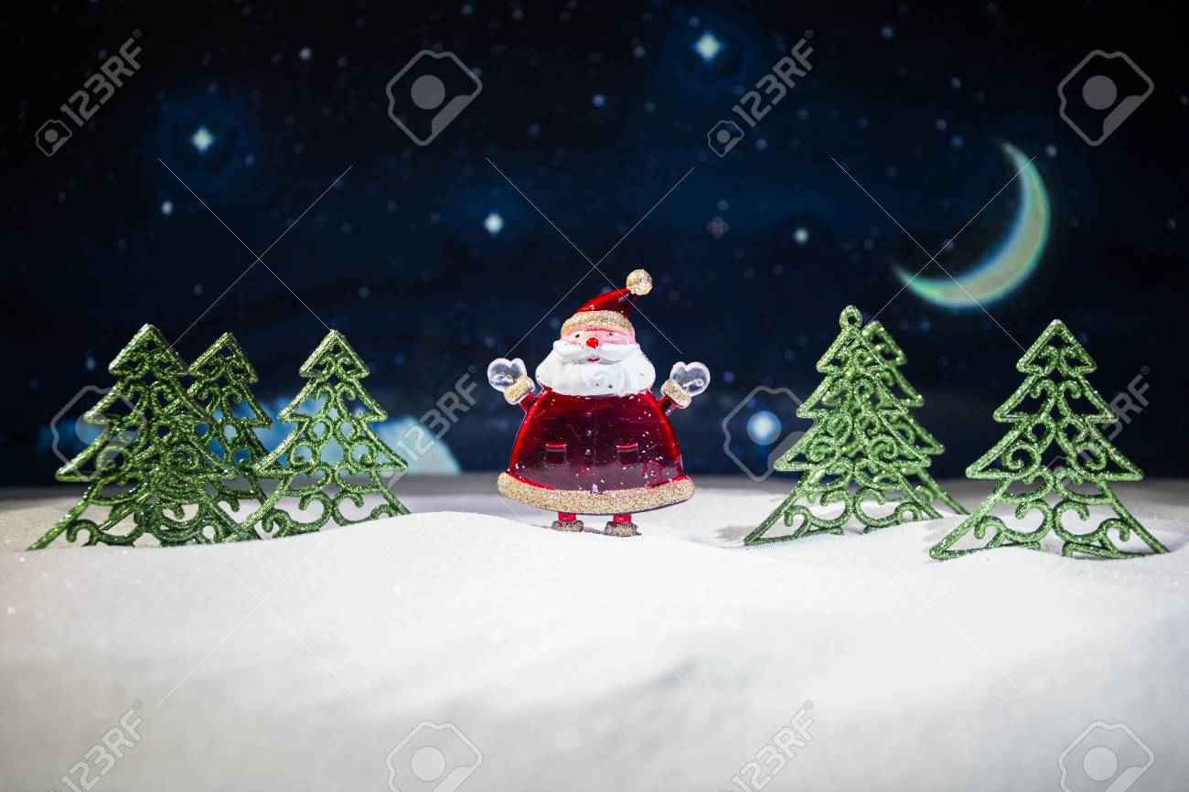 Festive Background Christmas Decorations Santa Claus Or Snowman