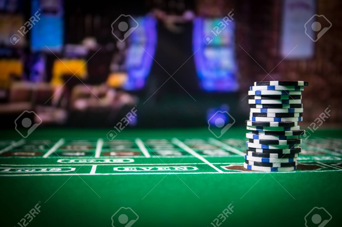 Cards And Chips On Green Felt Casino Table. Abstract Background.. Stock Photo, Picture And Royalty Free Image. Image 121514687.