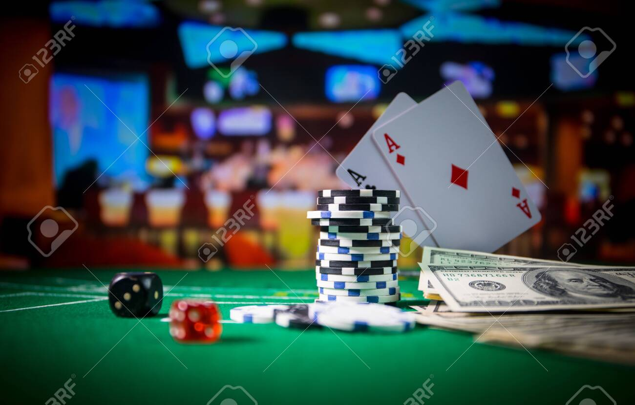 Cards And Chips On Green Felt Casino Table. Abstract Background.. Stock Photo, Picture And Royalty Free Image. Image 121517082.