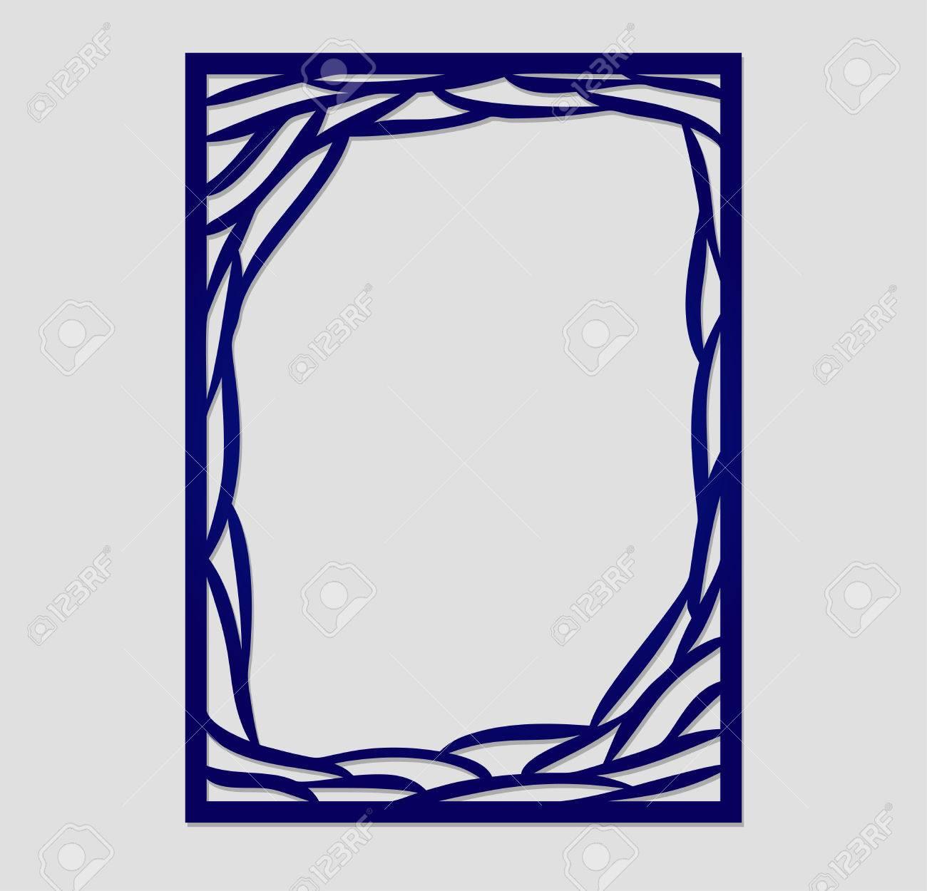 Abstract Vector Rahmen Mit Wellen. Kann Für Das Laserschneiden ...