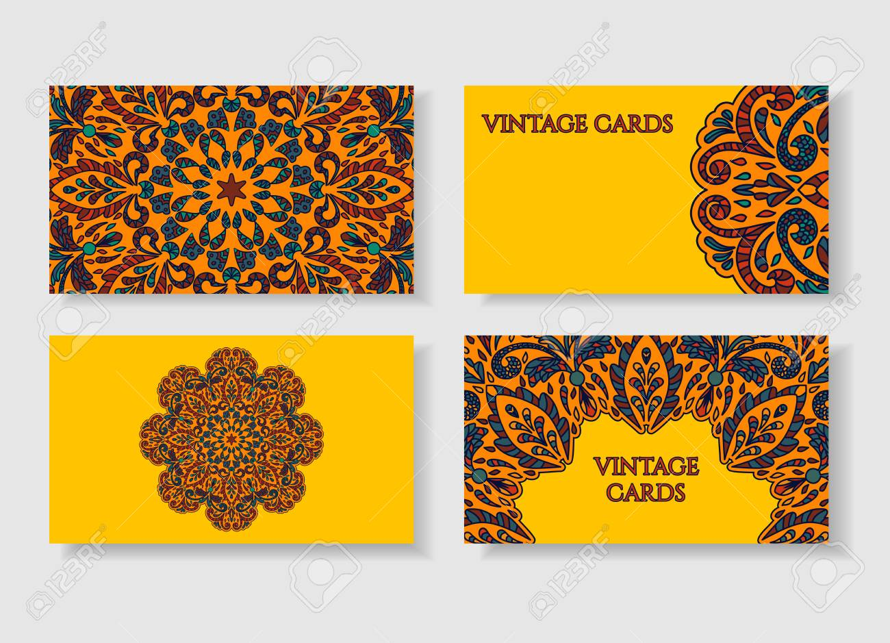 Business Card Collection. Vintage Decorative Elements. Hand Drawn ...
