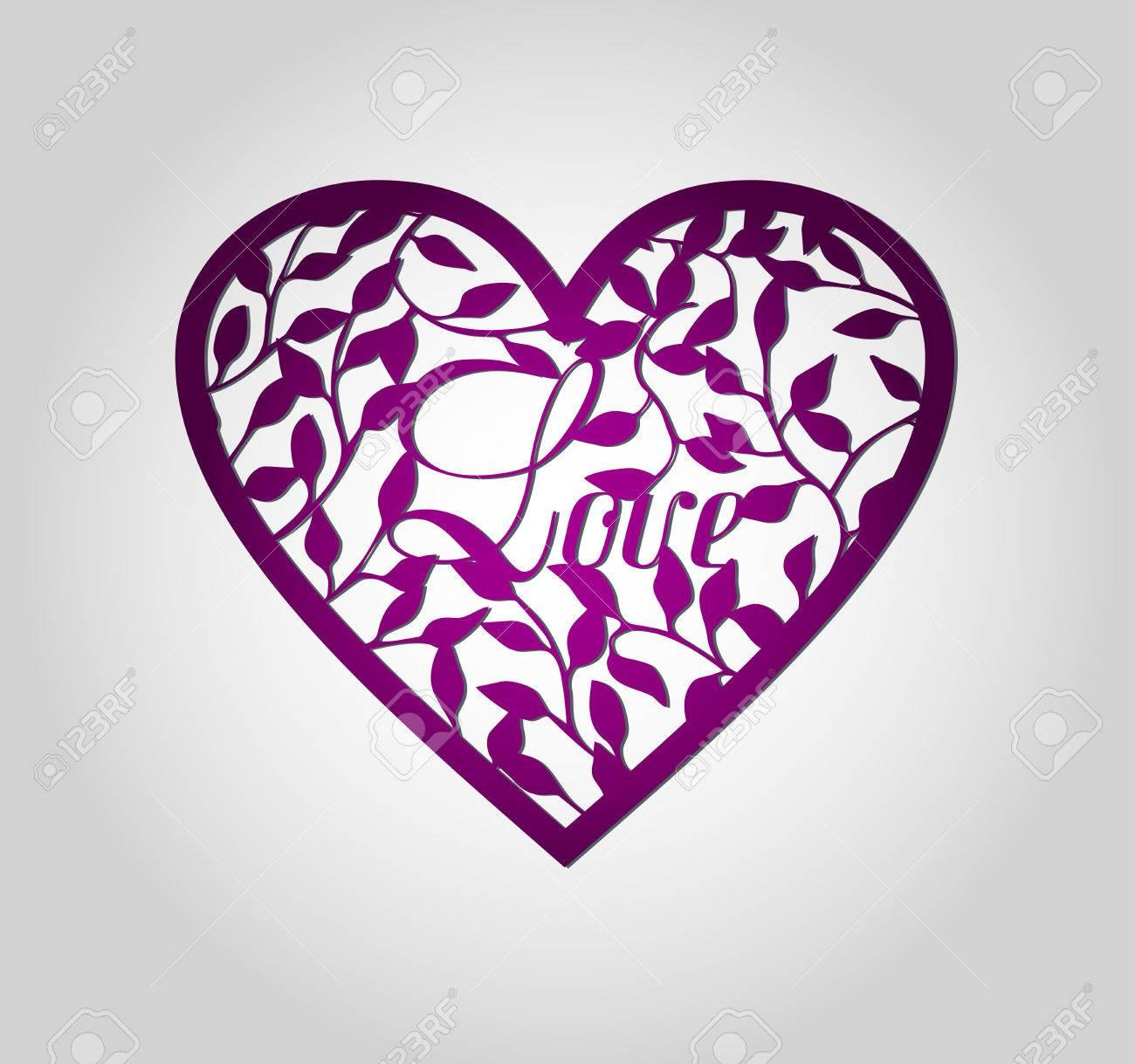El Laser Cortó La Etiqueta Del Corazón. Die Corazón Formas Cortadas ...